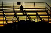 Jan 25, 2009; Chandler, AZ, USA; A fan watches from the grandstands during NHRA testing at the National Time Trials at Firebird International Raceway. Mandatory Credit: Mark J. Rebilas-