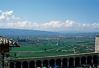 Italy: Assisi--Umbrian countryside from Santa Chiara. Photo '85.