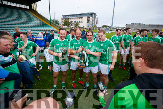 Aidan, Liam, Mikey and Padraig Boyle Ballyduff celebrating after the Senior County Hurling Final in Austin Stack Park on Sunday
