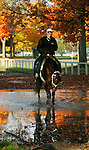 Captain Slew, Carl O'Callaghan up.  Saratoga, October 2004. Saratoga Race Course, Saratoga Racetrack, beautiful horse racing, Thoroughbred racing, horse, equine, racehorse, morning mood