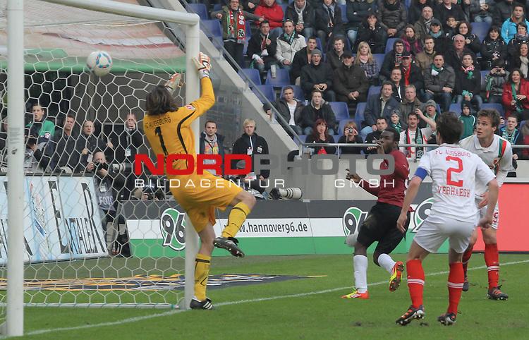 03.03.2012, AWD Arena, Hannover, GER, 1.FBL, Hannover 96 vs FC Augsburg, im Bild <br /> 2:1 Mame Biram Diouf (69., Vorlage Pinto)<br />  // during the Match GER, 1.FBL, Hannover 96 vs FC Augsburg,  AWD Arena, Hannover, Germany, on 2012/03/03,<br /> Foto &copy; nph / Rust<br />  *** Local Caption ***