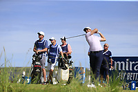 Lucas Bjerregaard (DEN) tees off the 15th tee during Thursday's Round 1 of the Dubai Duty Free Irish Open 2019, held at Lahinch Golf Club, Lahinch, Ireland. 4th July 2019.<br /> Picture: Eoin Clarke | Golffile<br /> <br /> <br /> All photos usage must carry mandatory copyright credit (© Golffile | Eoin Clarke)
