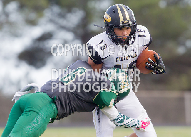 Palos Verdes, CA 10/17/14 - Andrew Phillips (Peninsula #16) and Jeremiah Leilua (Mira Costa #6) in action during the Mira Costa vs Palos Verdes Peninsula CIF Varsity football game at Peninsula High School.  Mira Costa defeated Peninsula 38-27.