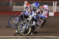 Heat 1: Kim Nilsson (blue), Ryan Sullivan (white) and Norbert Kosciuch  - Lakeside Hammers vs Peterborough Panthers - Sky Sports Elite League Speedway at Arena Essex Raceway, Purfleet - 14/09/12 - MANDATORY CREDIT: Gavin Ellis/TGSPHOTO - Self billing applies where appropriate - 0845 094 6026 - contact@tgsphoto.co.uk - NO UNPAID USE.