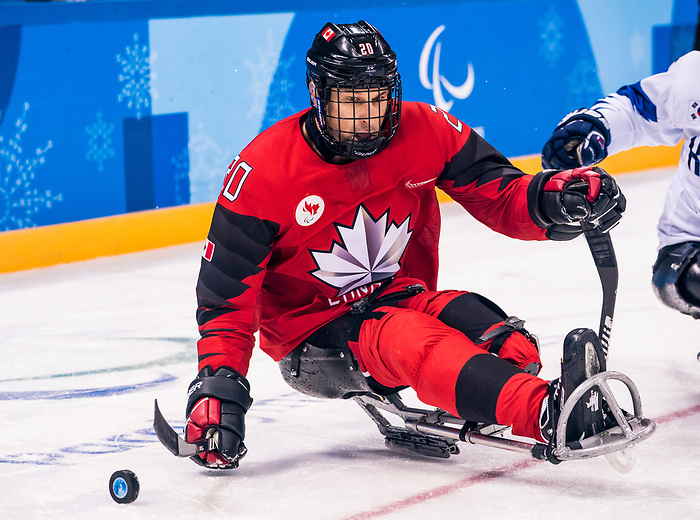 PyeongChang 15/3/2018 - Bryan Sholomicki (#20), of Winnipeg, MB, in action as Canada takes on Korea in semifinal hockey action at the Gangneung Hockey Centre during the 2018 Winter Paralympic Games in Pyeongchang, Korea. Photo: Dave Holland/Canadian Paralympic Committee