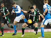 16th March 2018, McDiarmid Park, Perth, Scotland; Scottish Premier League football, St Johnstone versus Hibernian; Murray Davidson of St Johnstone and John McGinn of Hibernian challenge for the ball