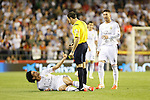 Real Madrid´s Pepe and Sergio Ramos with the referee Mateu Lahoz during the Spanish Copa del Rey `King´s Cup´ final soccer match between Real Madrid and F.C. Barcelona at Mestalla stadium, in Valencia, Spain. April 16, 2014. (ALTERPHOTOS/Victor Blanco)