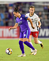 Orlando, FL - Saturday July 07, 2018: Camila Martins Pereira, Rebecca Quinn during the second half of a regular season National Women's Soccer League (NWSL) match between the Orlando Pride and the Washington Spirit at Orlando City Stadium. Orlando defeated Washington 2-1.