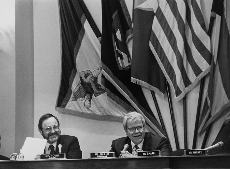 Rep. Don Young, R-Alaska, and Rep. George Miller, D-Calif., at the beginning of a Interior Committee meeting on Sep. 25, 1991. (Photo by Maureen Keating/CQ Roll Call via Getty Images)