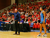 29th December 2019; Bendat Basketball Centre, Perth, Western Australia, Australia; Womens National Basketball League Australia, Perth Lynx versus Canberra Capitals; Canberra Capitals coach Paul Goriss yells instructions to his players - Editorial Use