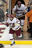 Matt Price (BC - 25), Andrew Orpik (BC - 27) - The Boston College Eagles defeated the visiting Northeastern University Huskies 7-1 on Friday, March 9, 2007, to win their Hockey East quarterfinals matchup in two games at Conte Forum in Chestnut Hill, Massachusetts.
