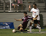 1 November 2006: Boston College's Jamie Melas (27) and Maryland's A.J. Godbolt (5). Maryland defeated Boston College 1-0 in double overtime at the Maryland Soccerplex in Germantown, Maryland in an Atlantic Coast Conference college soccer tournament quarterfinal game.