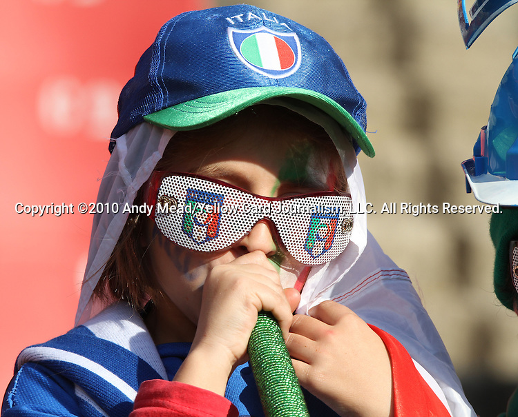 24 JUN 2010: An Italy fan, pregame. The Slovakia National Team played the Italy National Team at Ellis Park Stadium in Johannesburg, South Africa in a 2010 FIFA World Cup Group F match.