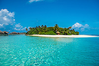 Maldives, Rangali Island. Conrad Hilton Resort. Views of the water villas on the island.