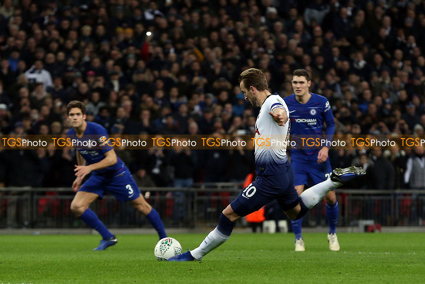 Harry Kane of Tottenham Hotspur scores the first goal from the penalty spot during Tottenham Hotspur vs Chelsea, Caraboa Cup Football at Wembley Stadium on 8th January 2019