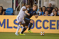 SAN JOSE,  - SEPTEMBER 1: Nani  #17 of the Orlando City SC and Tommy Thompson #22 of the San Jose Earthquakes during a game between Orlando City SC and San Jose Earthquakes at Avaya Stadium on September 1, 2019 in San Jose, .