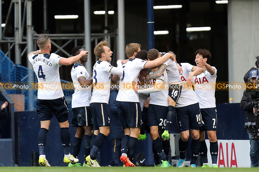 Dele Alli of Tottenham Hotspur is congratulated after scoring the opening goal during Tottenham Hotspur vs Arsenal, Premier League Football at White Hart Lane on 30th April 2017