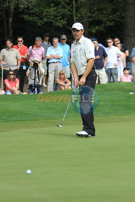 Padraig harrington misses his putt int he 11th green.during round two of the BMW PGA championship 2010 at Wentworth golf club, Surrey England..Picture Fran Caffrey/Newsfile.ie