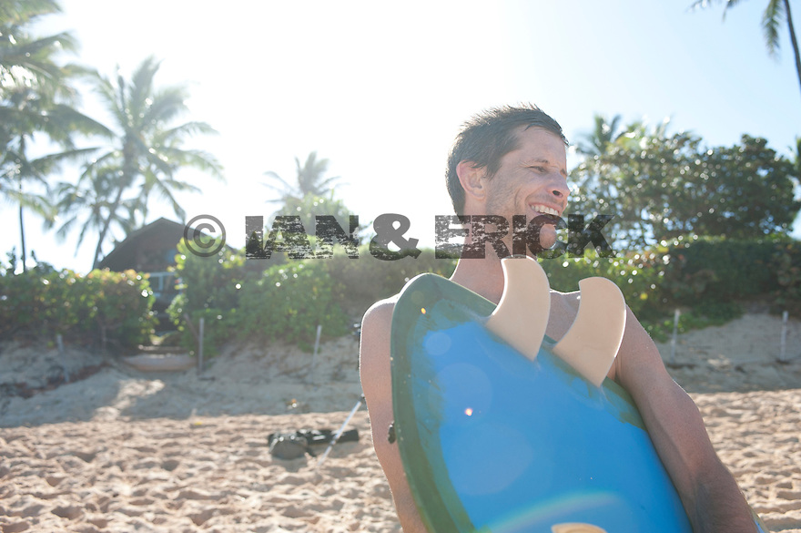 Joel Tudor after a surf at Pipeline on the Northshore of Hawaii.