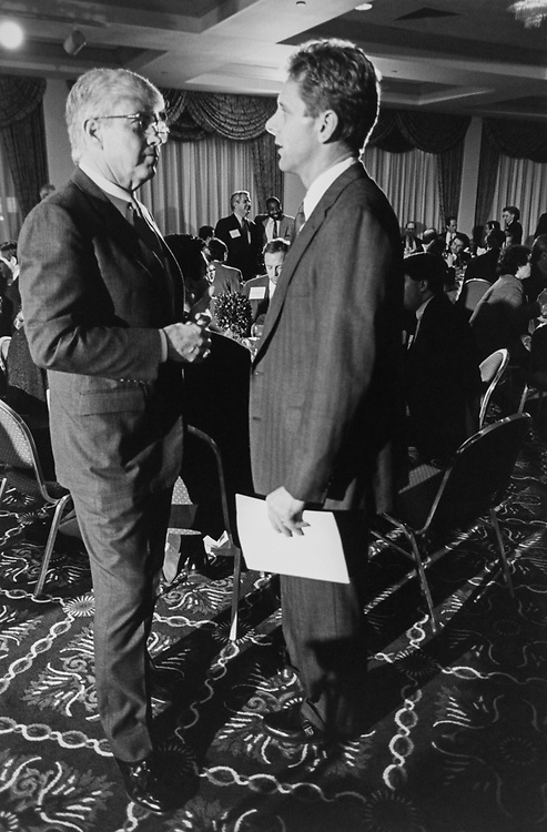 Rep. Steve Largent, R-Okla., with Former football player's Rep. Jack Kemp, R-N.Y., post dinner at Freshman Orientation, Baltimore. August 12, 1985 (Photo by Chris Martin/CQ Roll Call via Getty Images)