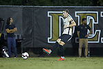 Sam Raben (26) of the Wake Forest Demon Deacons passes the ball during first half action against the Duke Blue Devils at W. Dennie Spry Soccer Stadium on September 29, 2018 in Winston-Salem, North Carolina.  The Demon Deacons defeated the Blue Devils 4-2.  (Brian Westerholt/Sports On Film)