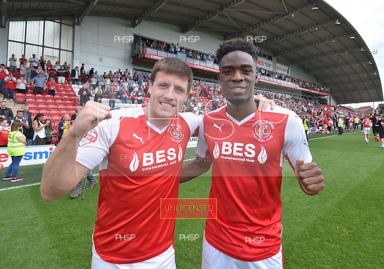 08/05/2016 Sky Bet League 1 Fleetwood Town v <br /> Crewe Alexandra<br /> Fleetwood Town goalscorers, Bobby Grant and Devante Cole celebrate retaining League One status