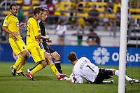 26 JUNE 2010:  Eric Brunner of the Columbus Crew (23), Daniel Allsopp #9 of DC United  and William Hesmer of the Columbus Crew (1) during MLS soccer game between DC United vs Columbus Crew at Crew Stadium in Columbus, Ohio on May 29, 2010. The Crew defeated DC United 2-0.