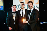 © Joel Goodman - 07973 332324 . 01/03/2018 . Manchester , UK . Solicitor of the Year ZAK GOLOMBECK (c) of Slater and Gordon . The Manchester Evening News Legal Awards at the Midland Hotel in Manchester City Centre . Photo credit : Joel Goodman