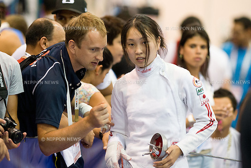 (R-L) Miho Morioka,   Oleksandr Gorbachuk (JPN),<br /> AUGUST 5, 2013 - Fencing :<br /> World Fencing Championships Budapest 2013, Women's Individual Epee Qualifications at Syma Hall in Budapest, Hungary. (Photo by Enrico Calderoni/AFLO SPORT) [0391]