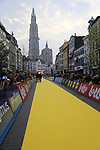 The yellow carpet for the riders at the team presentation in Antwerp before the start of the 2019 Ronde Van Vlaanderen 270km from Antwerp to Oudenaarde, Belgium. 7th April 2019.<br /> Picture: Eoin Clarke | Cyclefile<br /> <br /> All photos usage must carry mandatory copyright credit (&copy; Cyclefile | Eoin Clarke)