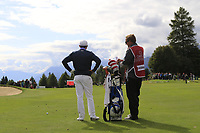 Matthew Fitzpatrick (ENG) and caddy Jamie on the 17th hole during Sunday's Final Round of the 2017 Omega European Masters held at Golf Club Crans-Sur-Sierre, Crans Montana, Switzerland. 10th September 2017.<br /> Picture: Eoin Clarke | Golffile<br /> <br /> <br /> All photos usage must carry mandatory copyright credit (&copy; Golffile | Eoin Clarke)