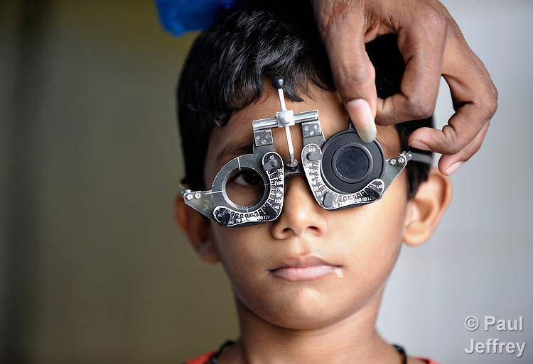 Thruselvan gets his eyesight checked at an eye clinic for the poor in Chennai, a city in the southern India state of Tamil Nadu.