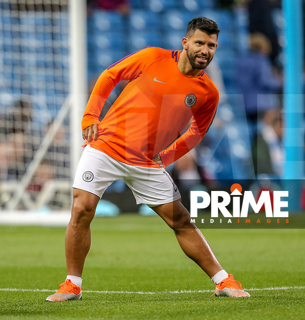 Sergio AGUERO of Manchester City warms up during the UEFA Champions League match between Manchester City and Olympique Lyonnais at the Etihad Stadium, Manchester, England on 19 September 2018. Photo by David Horn / PRiME Media Images.