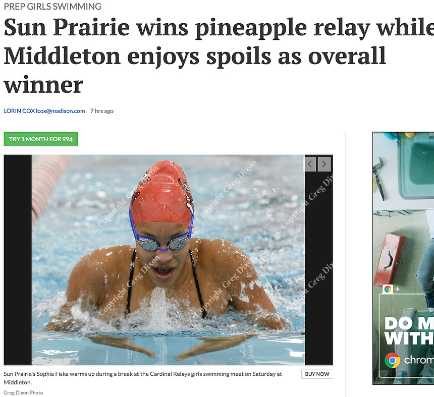 Sun Prairie's Sophie Fiske warms up during a break at the Middleton Invitational girls high school swimming tournament on 9/29/18 at Middleton High School in Middleton, Wisconsin | Wisconsin State Journal 9/30/18 Sports section, page B6 and online at https://madison.com/wsj/sports/high-school/swimming/sun-prairie-wins-pineapple-relay-while-middleton-enjoys-spoils-as/article_0923e3b9-b216-541f-b8a8-15215f8112ce.html