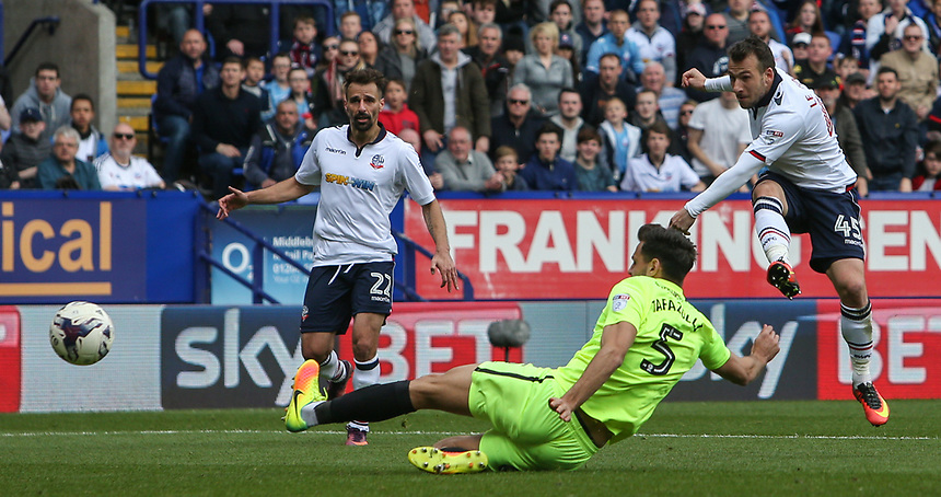 Bolton Wanderers' Adam Le Fondre scores his sides third goal <br /> <br /> Photographer Alex Dodd/CameraSport<br /> <br /> The EFL Sky Bet League One - Bolton Wanderers v Peterborough United - Sunday 30th April 2017 - Macron Stadium - Bolton<br /> <br /> World Copyright &copy; 2017 CameraSport. All rights reserved. 43 Linden Ave. Countesthorpe. Leicester. England. LE8 5PG - Tel: +44 (0) 116 277 4147 - admin@camerasport.com - www.camerasport.com