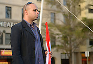 "October 23, 2011  (Washington, DC) Ahmed Maher, 31, co-founder of the April 6 Youth Movement in Egypt, spoke to an assembly of October2011, the group that has been ""occupying"" Freedom Plaza in Washington.  During 2011, Maher also participated in the anti-Mubarak demonstrations that swept Egypt.    (Photo by Don Baxter/Media Images International)"