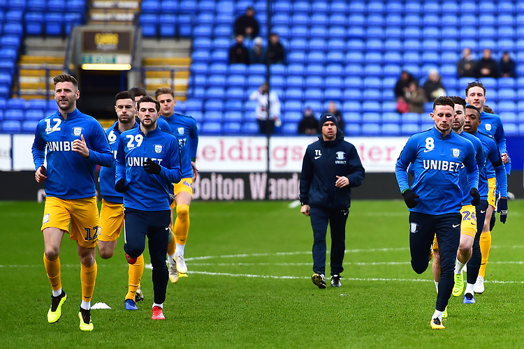 Preston North End players warm up <br /> <br /> Photographer Richard Martin-Roberts/CameraSport<br /> <br /> The EFL Sky Bet Championship - Bolton Wanderers v Preston North End - Saturday 9th February 2019 - University of Bolton Stadium - Bolton<br /> <br /> World Copyright &copy; 2019 CameraSport. All rights reserved. 43 Linden Ave. Countesthorpe. Leicester. England. LE8 5PG - Tel: +44 (0) 116 277 4147 - admin@camerasport.com - www.camerasport.com