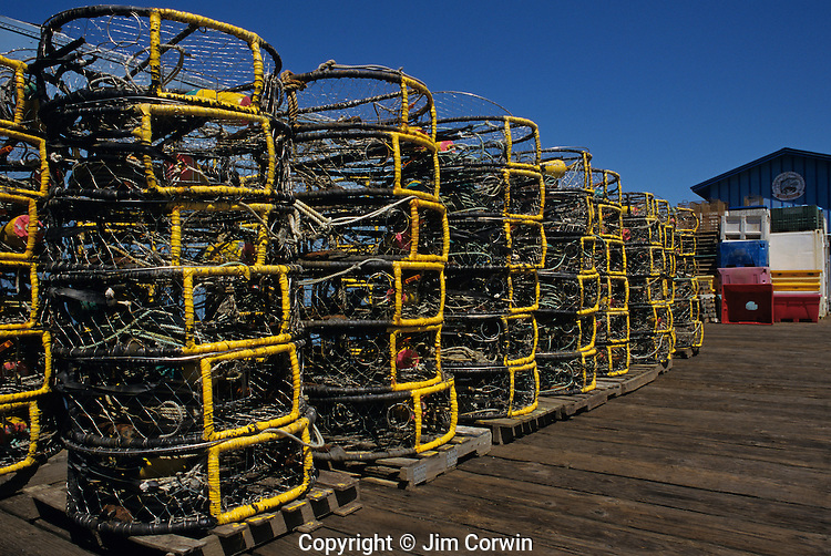 Crab pods stacked along fishing dock along the Siuslaw river along the Pacific Ocean Oregon coast Highway 101 sunny blue sky Florence Oregon State USA