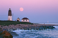 Moonrise over Point Judith Light