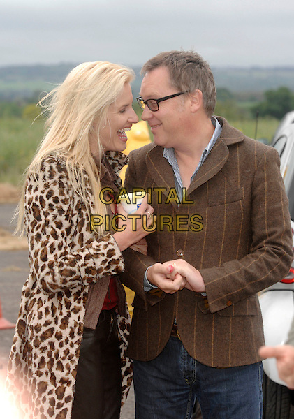 VIC REEVES & NANCY SORRELL.New host of Sky One's Braniac and his wife at Wisley Airport attempting to break world record for world's biggest custard firework. They launched a 12 foot tall rocket filled with custard aiming to send it 120 feet up..6th May 2007 Ockham Common, Cobham, Surrey, England.Ref: CAP/PL.www.capitalpictures.com .©Phil Loftus/Capital Pictures.