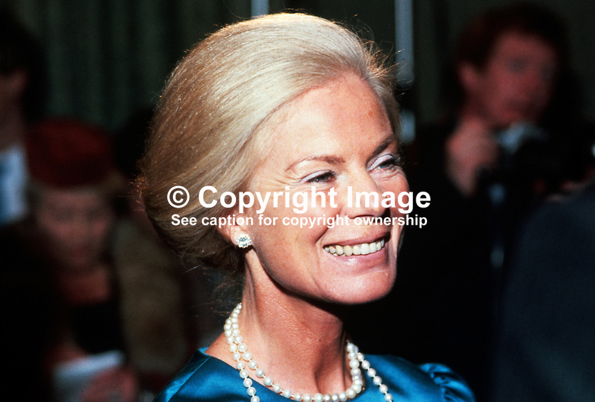 A smiling Duchess of Kent at a reception in Hillsborough Castle, during a visit to N Ireland. She was there to meet those locally involved in International Youth Year. 198501000008d..Copyright Image from Victor Patterson, 54 Dorchester Park, Belfast, UK, BT9 6RJ..Tel: +44 28 9066 1296.Mob: +44 7802 353836.Voicemail +44 20 8816 7153.Skype: victorpattersonbelfast.Email: victorpatterson@mac.com.Email: victorpatterson@ireland.com (back-up)..IMPORTANT: If you wish to use this image or any other of my images please go to www.victorpatterson.com and click on the Terms & Conditions. Then contact me by email or phone with the reference number(s) of the image(s) concerned.