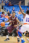 Arkansas Little Rock Trojans guard/forward Leroy Isler (1) in action during the game between the Arkansas Little Rock Trojans and the Texas Arlington Mavericks at the College Park Center arena in Arlington, Texas. UALR defeats UTA 72 to 70.