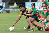 Sione Fifita drops the ball as he is tackled by Ronan Lawrence and Christian Walker. Counties Manukau Premier Club rugby game between Pukekohe and Waiuku, played at Colin Lawrie Fields, Pukekohe on Saturday April 14th, 2018. Pukekohe won the game 35 - 19 after leading 9 - 7 at halftime.<br /> Pukekohe Mitre 10 Mega -Joshua Baverstock, Sione Fifita 3 tries, Cody White 3 conversions, Cody White 3 penalties.<br /> Waiuku Brian James Contracting - Lemeki Tulele, Nathan Millar, Tevta Halafihi tries,  Christian Walker 2 conversions.<br /> Photo by Richard Spranger