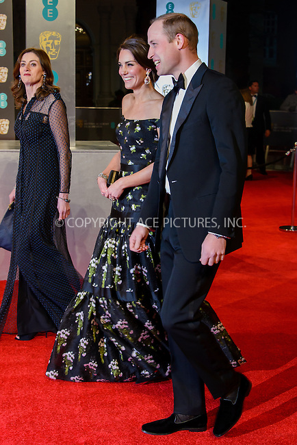 www.acepixs.com<br /> <br /> February 12 2017, London<br /> <br /> The Duke and Dutchess of Cambridge arriving at the 70th EE British Academy Film Awards (BAFTA) at the Royal Albert Hall on February 12, 2017 in London, England<br /> <br /> By Line: Famous/ACE Pictures<br /> <br /> <br /> ACE Pictures Inc<br /> Tel: 6467670430<br /> Email: info@acepixs.com<br /> www.acepixs.com