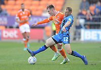 Blackpool's Chris Long is tackled by Gillingham's Barry Fuller<br /> <br /> Photographer Kevin Barnes/CameraSport<br /> <br /> The EFL Sky Bet League One - Blackpool v Gillingham - Saturday 4th May 2019 - Bloomfield Road - Blackpool<br /> <br /> World Copyright © 2019 CameraSport. All rights reserved. 43 Linden Ave. Countesthorpe. Leicester. England. LE8 5PG - Tel: +44 (0) 116 277 4147 - admin@camerasport.com - www.camerasport.com