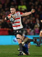 4th January 2020; Kingsholm Stadium, Gloucester, Gloucestershire, England; English Premiership Rugby, Gloucester versus Bath;  Ruan Ackermann of Gloucester is tacked by Tom Homer of Bath - Editorial Use