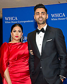 Comedian Hasan Minhaj, who will serve as the host for the evening, and his wife, Beena Minhaj, arrive for the 2017 White House Correspondents Association Annual Dinner at the Washington Hilton Hotel on Saturday, April 29, 2017.<br /> Credit: Ron Sachs / CNP
