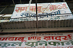 Hand painted hoardings in the Paharganj district of New Delhi, India.