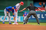 22 September 2018: Washington Nationals shortstop Trea Turner is called safe after stealing second base in the first inning against the New York Mets at Nationals Park in Washington, DC. The Nationals shut out the Mets 6-0 in the 3rd game of their 4-game series. Mandatory Credit: Ed Wolfstein Photo *** RAW (NEF) Image File Available ***