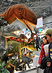 February 9, 2012, Tokyo, Japan - Movable stuffed Tyrannosaurus models with the price tag of $32,000 are shown at the Tokyo International Gift show at the Big Sight in Tokyo on Thursday, February 9, 2012. A total of 2,500 companies, including 220 from 22 foreign countries and regions, showcased three million amazing new products during the three-day exhibition. (Photo by Natsuki Sakai/AFLO) AYF -mis-